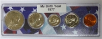 1977 Birth Year Coin Set in American Flag Holder