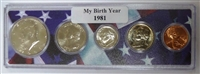 1981 Birth Year Coin Set in American Flag Holder