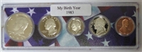 1983 Birth Year Coin Set in American Flag Holder