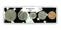 1984 Birth Year Coin Set in American Flag Holder