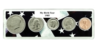1985 Birth Year Coin Set in American Flag Holder