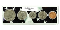 1986 Birth Year Coin Set in American Flag Holder