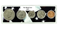 1987 Birth Year Coin Set in American Flag Holder