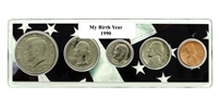 1990 Birth Year Coin Set in American Flag Holder