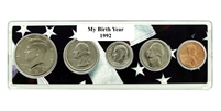 1992 Birth Year Coin Set in American Flag Holder