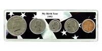 1993 Birth Year Coin Set in American Flag Holder