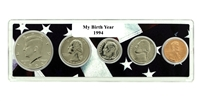 1994 Birth Year Coin Set in American Flag Holder