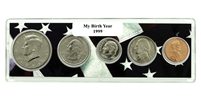 1999 Birth Year Coin Set in American Flag Holder