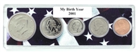 2001 Birth Year Coin Set in American Flag Holder