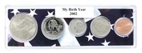 2002 Birth Year Coin Set in American Flag Holder