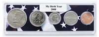 2008 Birth Year Coin Set in American Flag Holder