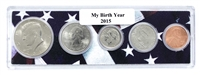 2015 Birth Year Coin Set in American Flag Holder