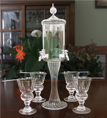 Deluxe 4 Spout Absinthe Fountain With Glasses & Spoons