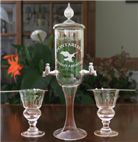 Etched  Deluxe 2 Spout Absinthe Fountain With Glasses & Spoons