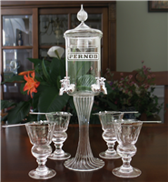 Etched  Deluxe 4 Spout Absinthe Fountain With Glasses & Spoons
