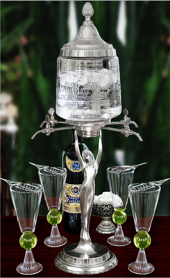 Lady Absinthe Fountain Set With Glasses & Spoons