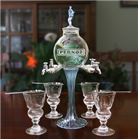 Etched Rozier Fee 4 Spout Absinthe Fountain With Glasses & Spoons