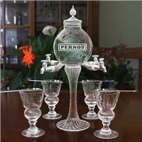 Etched Rozier 4 Spout Absinthe Fountain With Glasses & Spoons
