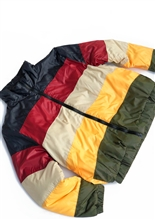 Color Block Rasta Puffer Coat
