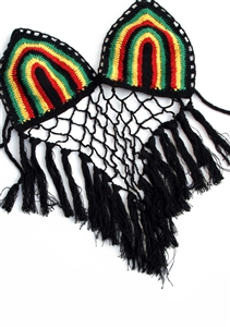 Rasta Crochet Top Triangle Fringe