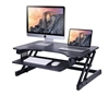 "Rocelco 32"" Sit To Stand Adjustable Height Desk Riser w/Easy-Lift Handles (Black)"