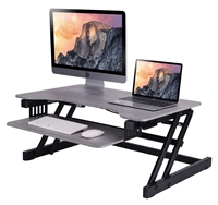 "Rocelco 32"" Sit To Stand Adjustable Height Desk Riser w/Easy-Lift Handles (Grey)"
