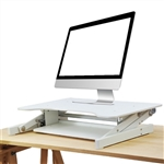 "Rocelco 32"" Sit To Stand Adjustable Height Desk Riser (WHITE)"