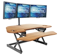 "Rocelco CADR-46 Corner Adjustable Height Desk Riser 46"" w/ Extended Vertical Range (TEAK)"