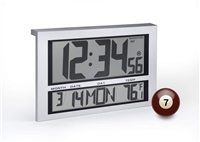JUMBO LCD ATOMIC WALL CLOCK WITH 6 TIME ZONES (SILVER)