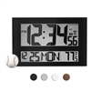 JUMBO LCD ATOMIC WALL CLOCK WITH 6 TIME ZONES (BLACK)