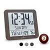 Slim Atomic Wall Clock with Full Calendar and Large Display and Indoor/Outdoor Temperature (WOOD)