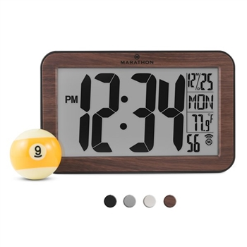 Atomic Self-Setting, Self-Adjusting Panoramic Clock (Wood Colour)