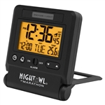 Marathon Atomic Travel Alarm Clock w/ Auto Night Light (BLACK)