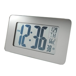 Marathon Atomic Self-Setting/Adjusting Wall Clock w/ 8 Time Zones (MIRROR GLASS)