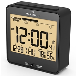 Marathon Desk Clock With RC Auto-Night Light, Heat & Comfort Index, 6 Time Zones (BLACK)