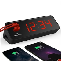 Marathon LED Alarm Clock with Two Fast Charging, Front Facing USB Ports (BLACK/RED)