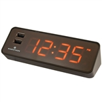 Marathon LED Alarm Clock with Two Fast Charging, Front Facing USB Ports (COCOA)