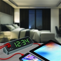 Marathon LED Alarm Clock with Two Fast Charging, Front Facing USB Ports (GRAPHITE GREY)