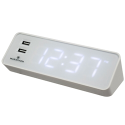 Marathon LED Alarm Clock with Two Fast Charging, Front Facing USB Ports (White)