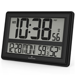 Elite Series JUMBO ATOMIC WALL CLOCK w/6 Time Zones (BLACK)