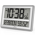 Elite Series JUMBO ATOMIC WALL CLOCK w/6 Time Zones (SILVER)