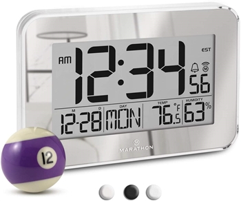 Crystal Framed Atomic Wall Clock with Temperature & Humidity (SILVER)