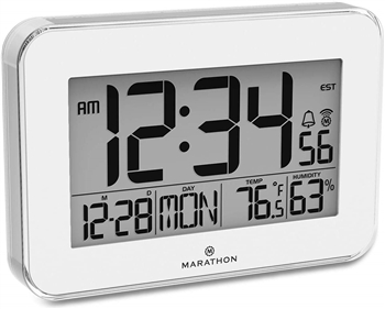 Crystal Framed Atomic Wall Clock with Temperature & Humidity (WHITE)