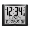 "Super Jumbo Digital Atomic Wall Clock with 7"" Digits & Full Date (BLACK)"