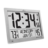 Slim Atomic Wall Clock Jumbo Full Calendar Display Indoor Temperature & Humidity (GRAPHITE GREY)