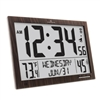 Slim Atomic Wall Clock Jumbo Full Calendar Display Indoor Temperature & Humidity (WOOD)
