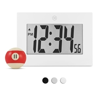 "Large Digital Frame Clock with 3.25"" Digits (WHITE)"