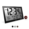 Slim Atomic Full Calendar Clock with Extra Large Digits and Indoor/Outdoor Temperature (BLACK)