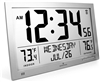 Slim Atomic Full Calendar Clock with Extra Large Digits and Indoor/Outdoor Temperature (GRAPHITE GREY)