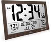 Slim Atomic Full Calendar Clock with Extra Large Digits and Indoor/Outdoor Temperature (WOOD)